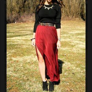 Zara burgundy maxi skirt with slit